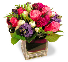 French tulip flowers noe valley san francisco a beautiful flower arrangement of pink colombian roses blue hyacinths white ranunculus and burgundy celosia is framed by stunning monkey tails ferns mightylinksfo